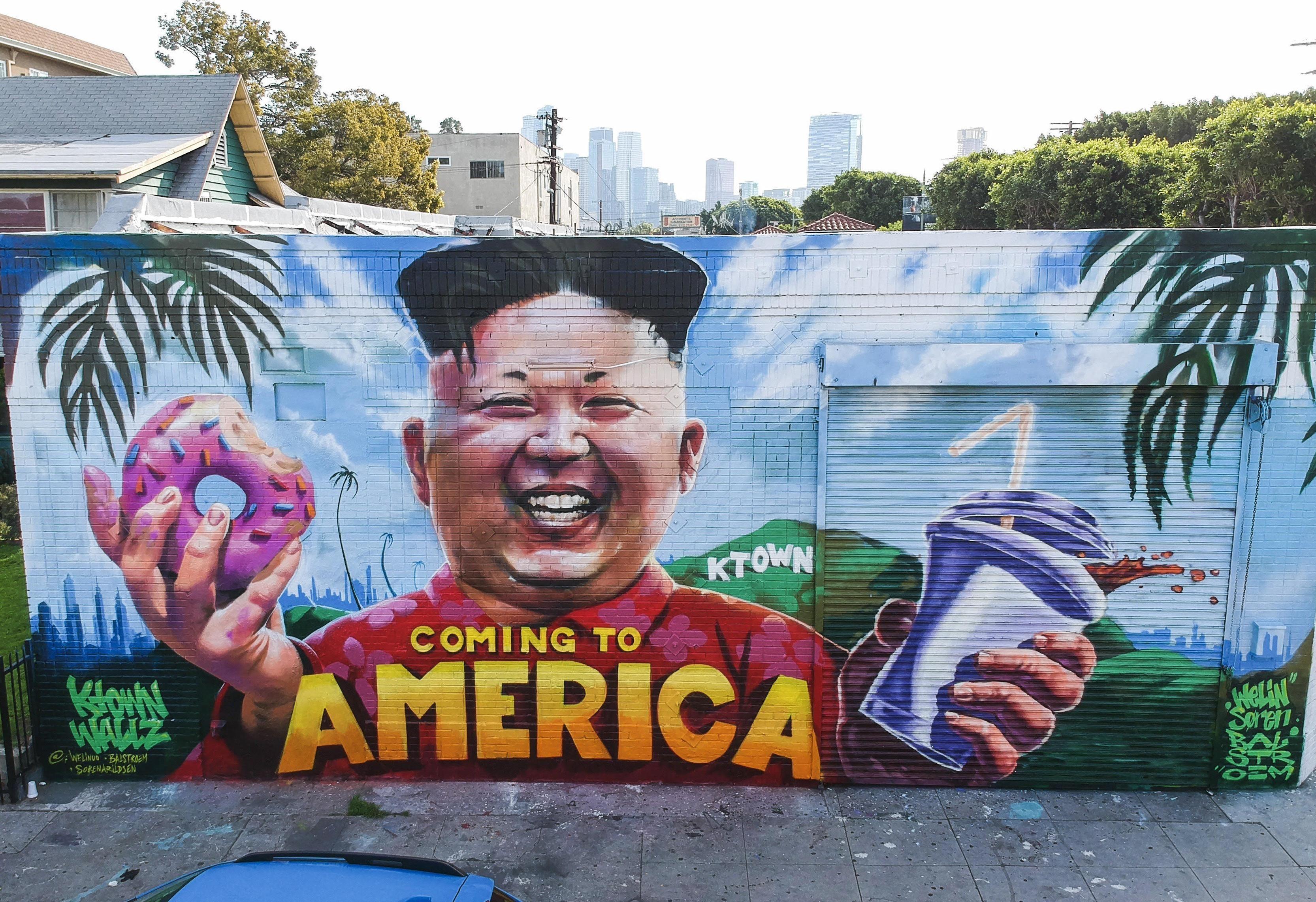 kim jong un wall in koreatown l a art street art urbain on kim wall id=25086