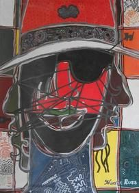 "Nadia Russ, ""Red Caviar: Jason FoodStamps Gangsta"", acrylic/canvas. NeoPopRealism"