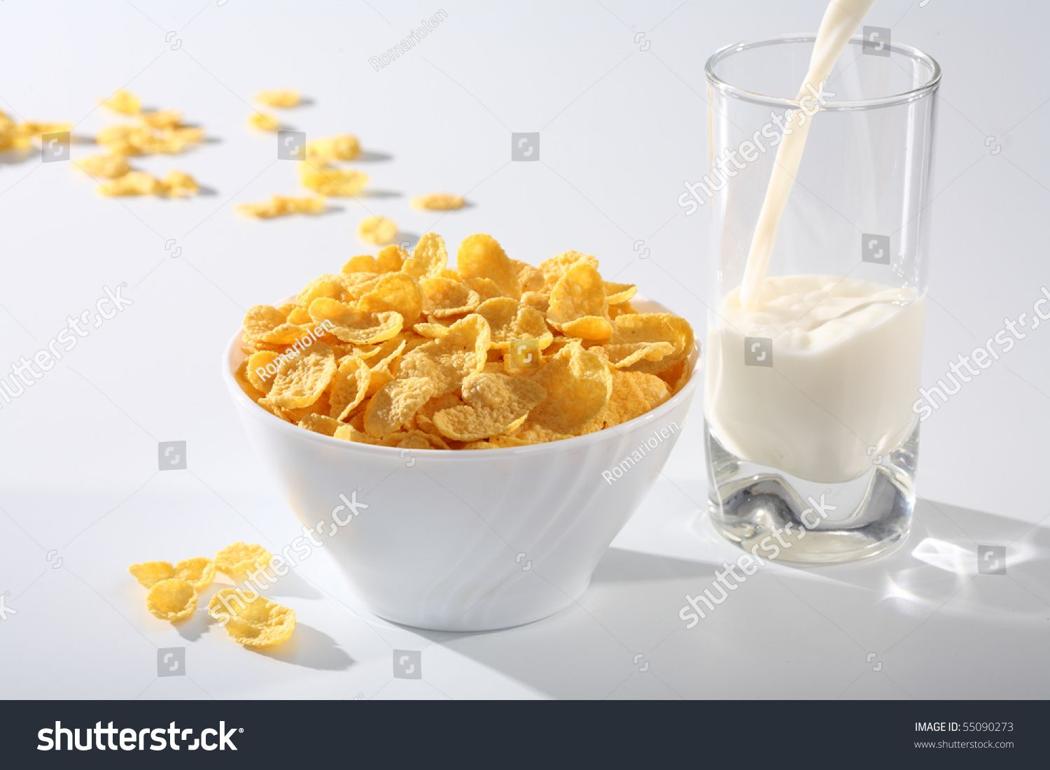 Healthy Breakfast Milk With Corn Flakes On White Sponsored