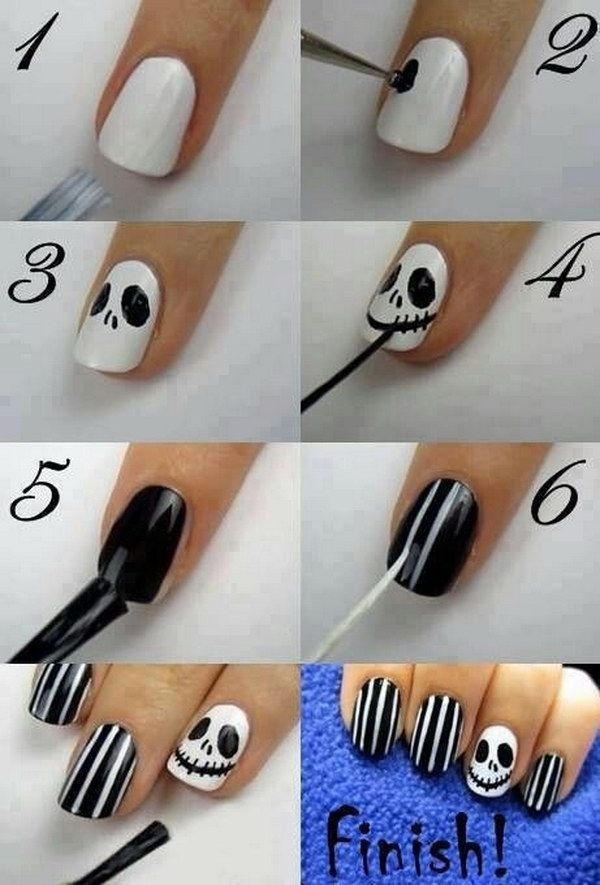 20 Step By Step Instructions For Nail Art Design Making Diyselber 20 Step By Step Ins In 2020 Halloween Nail Art Tutorial Halloween Nails Easy Halloween Nails Diy