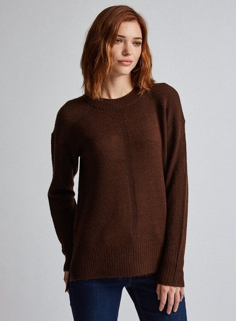 Womens **Tall Chocolate Brown Chunky Knit Jumper- Brown #chunkyknitjumper