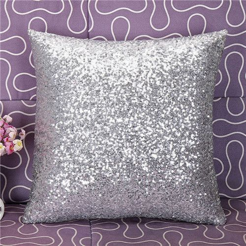 Solid Color Glitter Sequins Throw Pillow Case cheap decorative