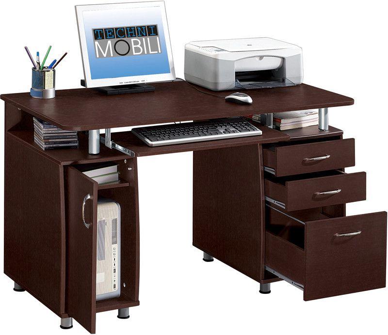 Techni Mobili Rta 4985 Ch36 Complete Workstation Computer Desk With Storage Color Chocolate Cabinet