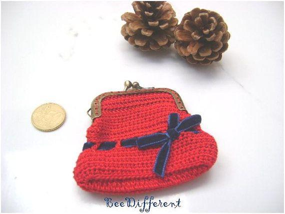 Red Crochet Coin Purseblue ribbon bowmetal frame by BeeDifferent1, $15.00