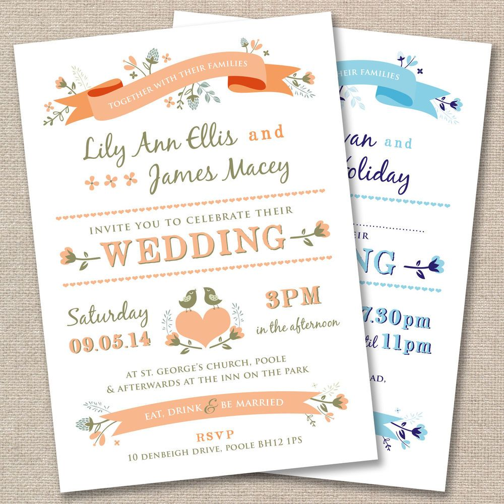 25 x Personalised Wedding Invitations Vintage Rustic Country Garden ...