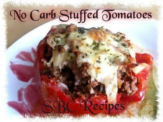 For all you low carbers!   ✽¸.•♥♥•.¸✽Share to Save to your timeline ✽¸.•♥♥•.¸✽   :) No Carb Stuffed Tomatoes :)  4 large tomatoes  1 finely chopped white onion 1 green pepper chopped bite-size ¼ pound extra-lean ground beef (can sub ground turkey) ½ cup finely chopped celery Salt/pepper to taste parsley, chopped or dried Cheese for topping (about 1-2tbsp each tomato) Mozzarella, Parmesan, Cheddar, etc  Preheat oven at 350. Cut tops off tomatoes like you would a pumpkin and save. Scoop out…