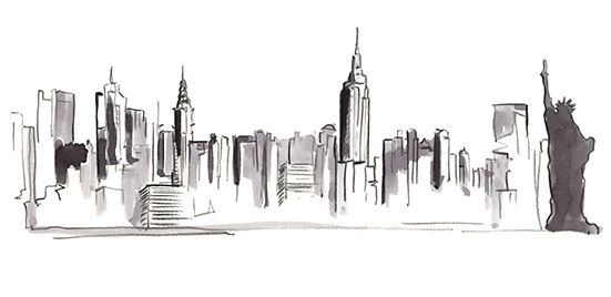 New York Skyline Illustration Skyline Drawing Nyc Drawing City Sketch