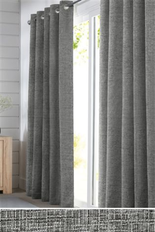 Silver Textured Chenille Eyelet Curtains Grey Bedroom Decor Lounge Interiors Curtains Living Room