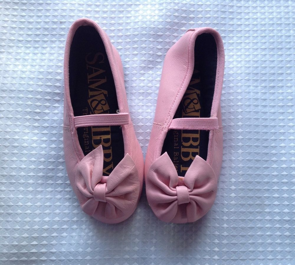 bb3073f5d64c Sam Libby 02891 Toddler Girls Pink Leather 6Med. Ballet Slipper Flat Shoe  W Bow  SamLibby  Flats