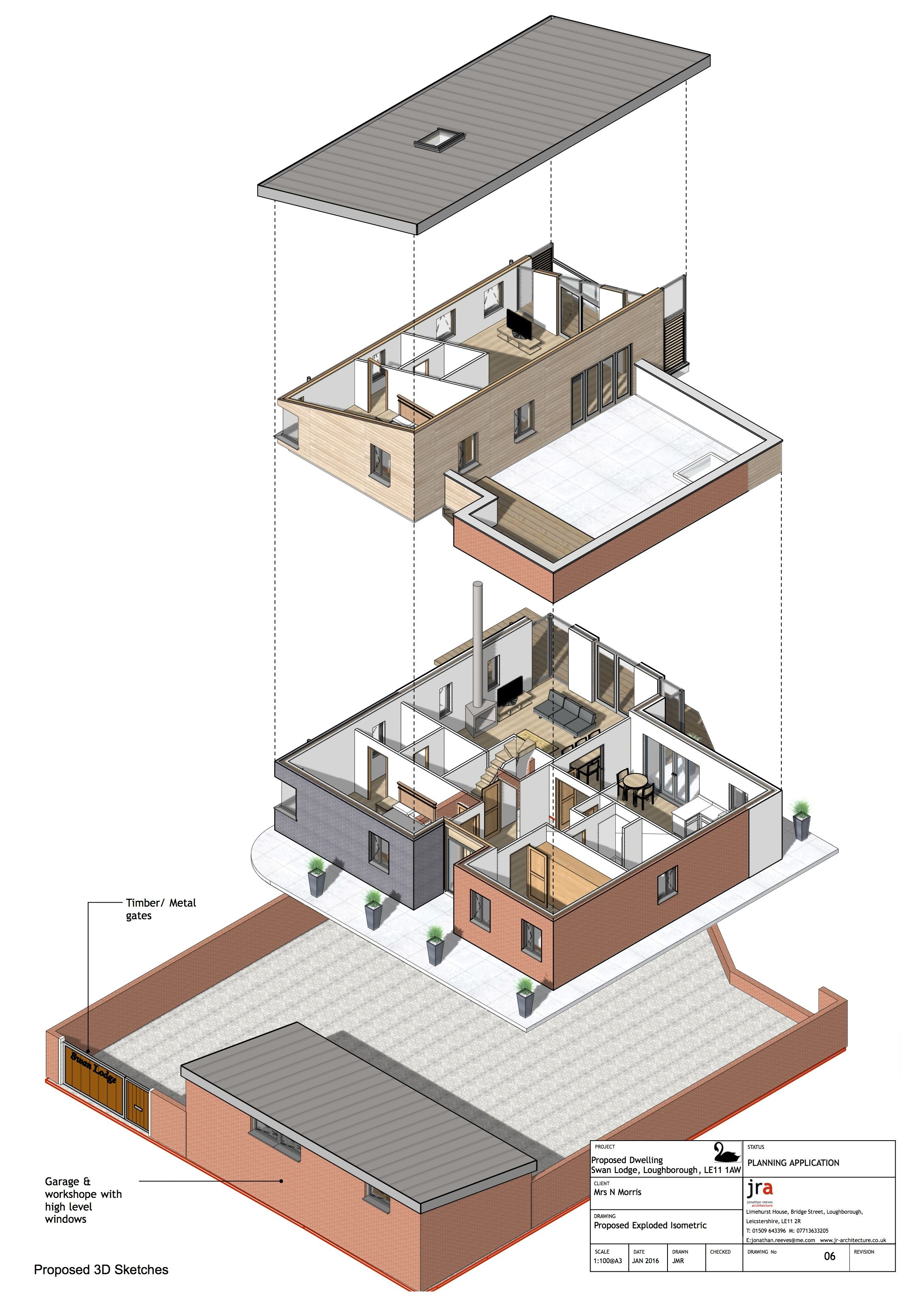 Autocad 3d House Design Software: Swan Lodge, Loughborough Vectorworks BIM Exploded Iso