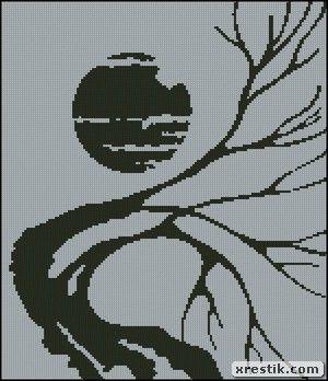 Монохром вышивка природы
