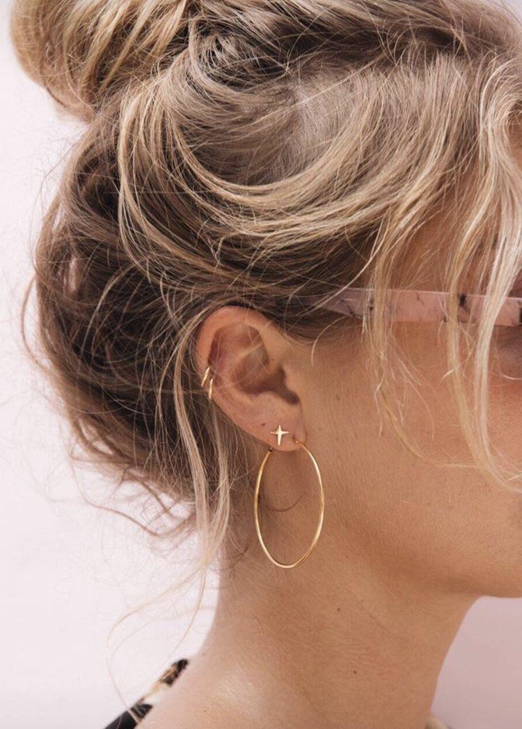 1f45e1f51f90  goldearrings  delicatejewelry  delicatejewels  updo  messybun Ear Piercings  Helix