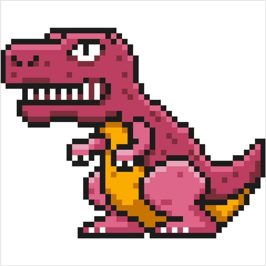 Coloriage Et Illustration Dun T Rex Un Dinosaure En Pixel