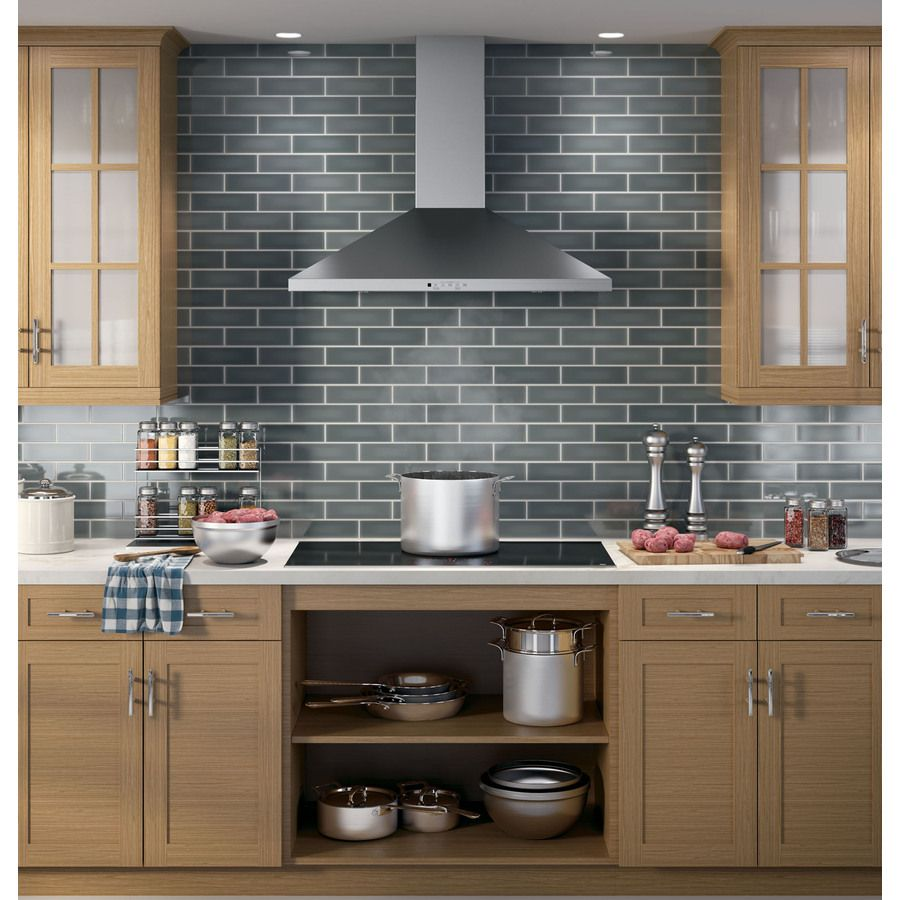 Wall Mount Pyramid Chimney Hood In Stainless Steel Has External Or Recirculating Venting Capabilities This Will Effectively Remove Smoke Grease