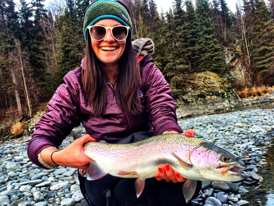 Fly fishing women alaska rainbow trout kenai river alaska for Fly fishing alaska