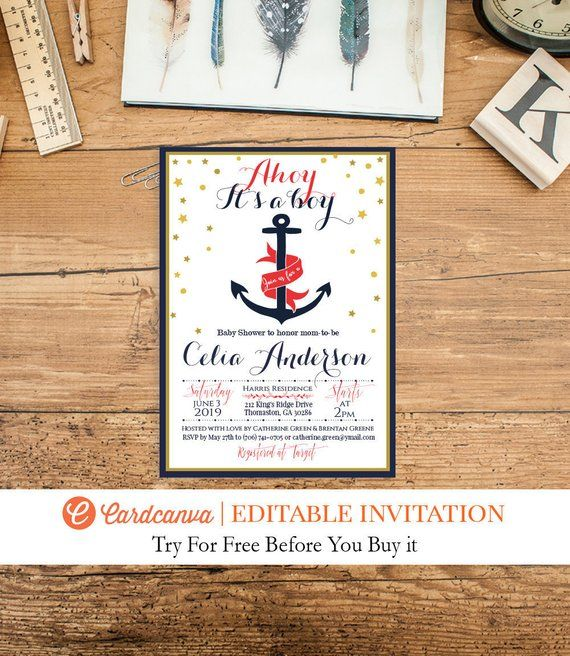 Ahoy Baby Shower Invitation, Nautical Invitation, Navy ...