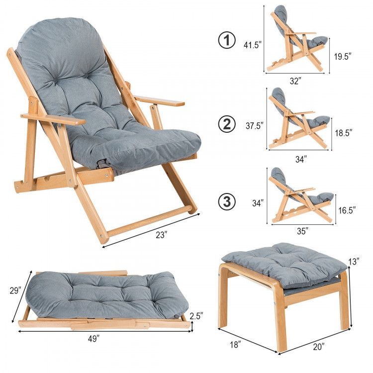Folding Recliner Adjustable Lounge Chair With Ottoman Outdoor Chairs Outdoor Seating Outdoor Furniture Furniture In 2021 Lounge Chair Outdoor Chair Furniture