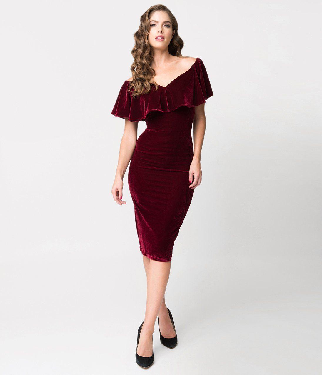 Unique Vintage Burgundy Red Velvet Draped Sophia Wiggle Dress Burgundy Velvet Dress Cocktail Dress Holiday Red Cocktail Dress