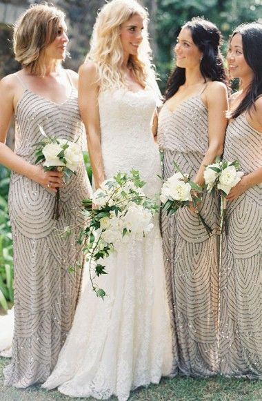 f38ef955ac0 Sparkle V-neck Floor Length Champagne Bridesmaid Dress