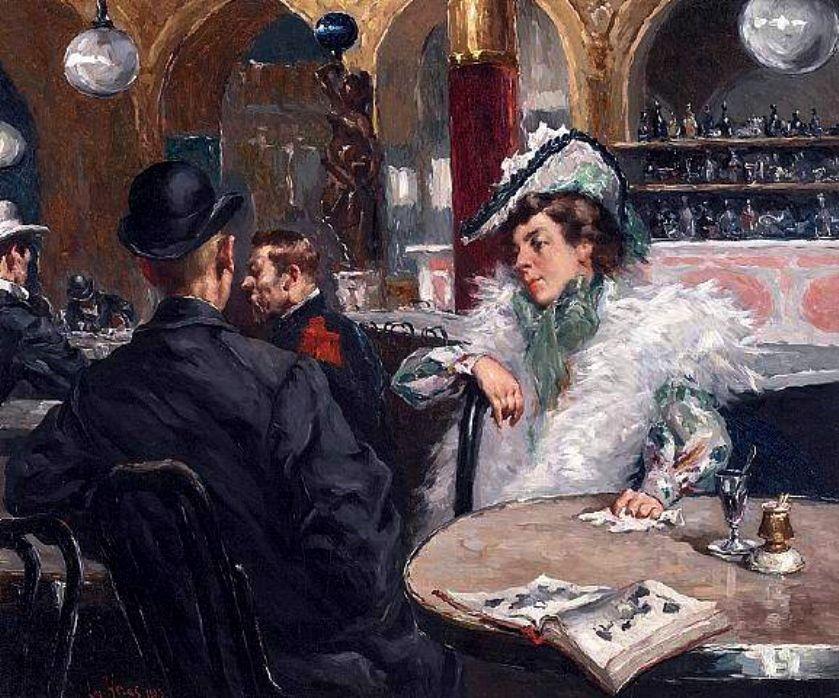 Heras, Gaetano de Las (b,1859)- Parisian Cafe, 1903