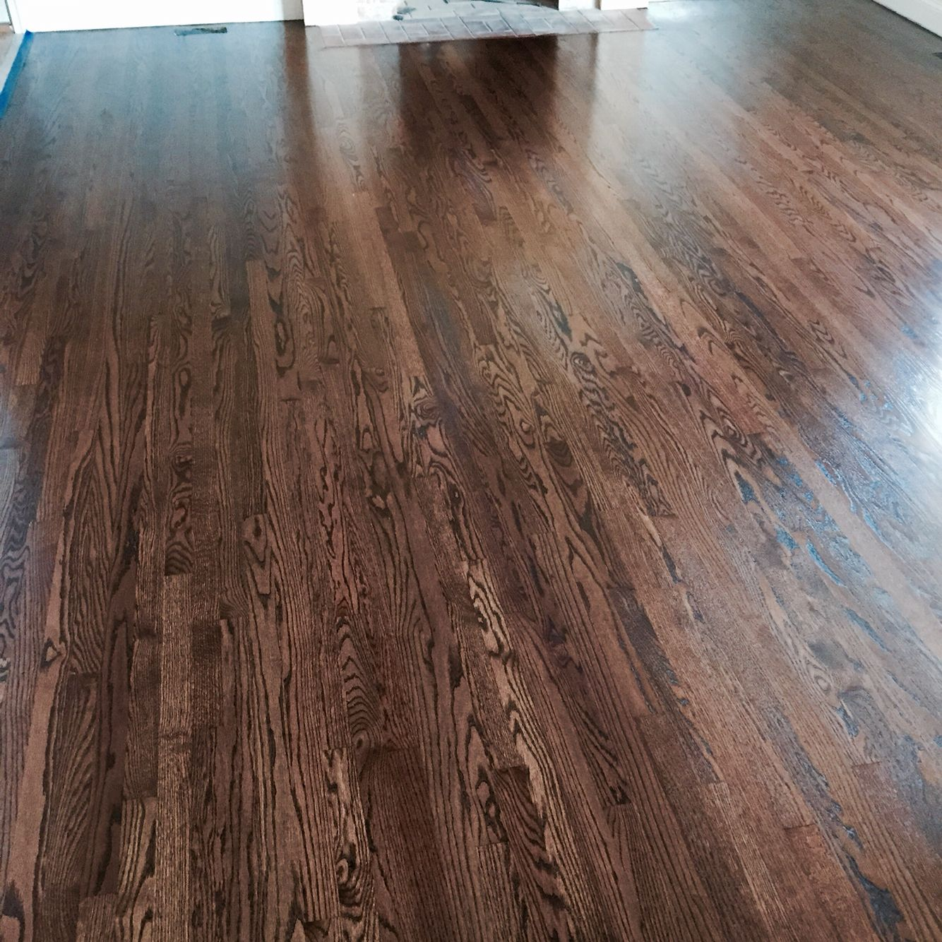 Refinished Red Oak With Antique Brown Stain And Finished Bona Mega Clear Hd Satin
