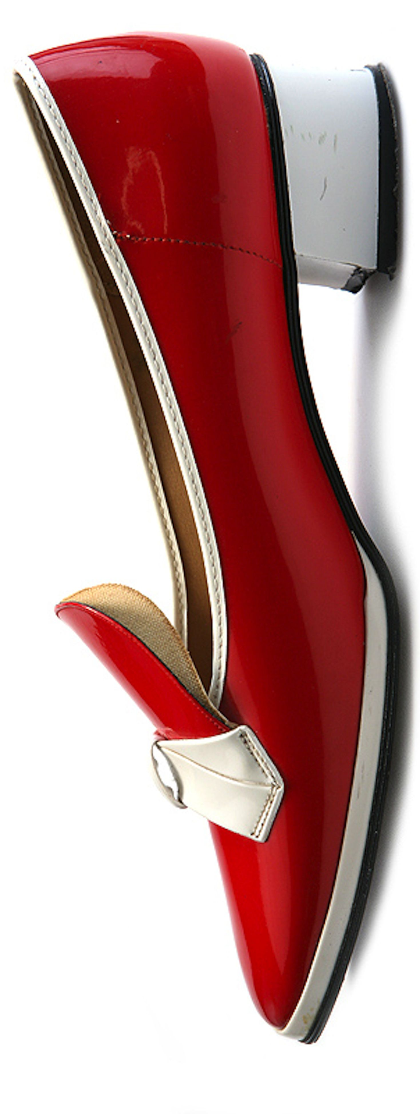 Vintage shoes - Joyce Happies - Red and white patent leather low heel shoes - 1960s - Great Britain