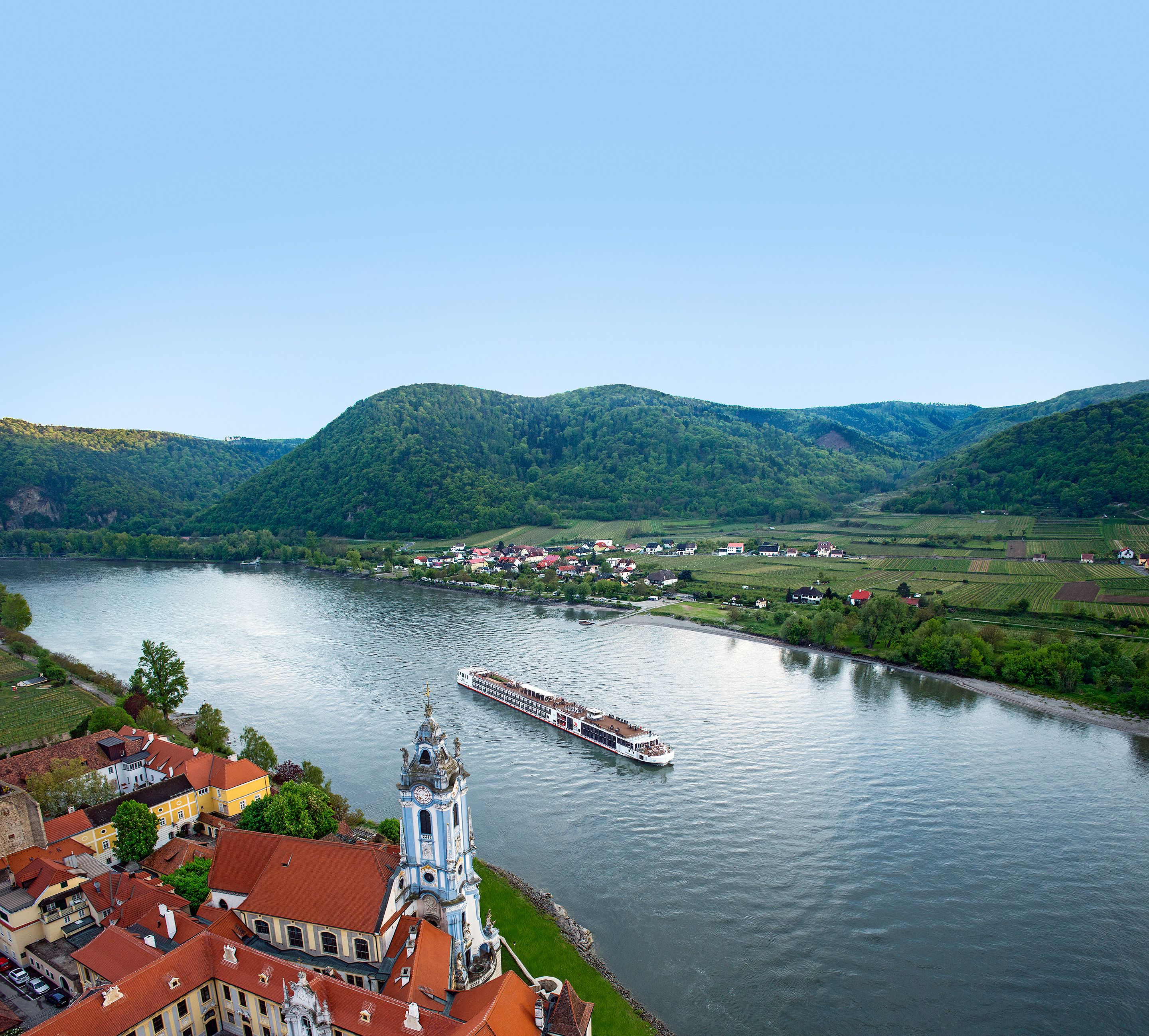 A Viking longship sails through Drnstein Austria