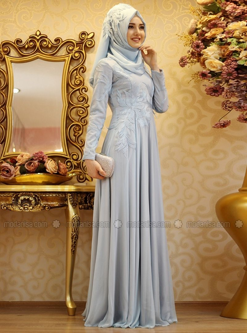 3a2a39d07c Blue - Fully Lined - Crew neck - Muslim Evening Dress - Gamze Özkul ...