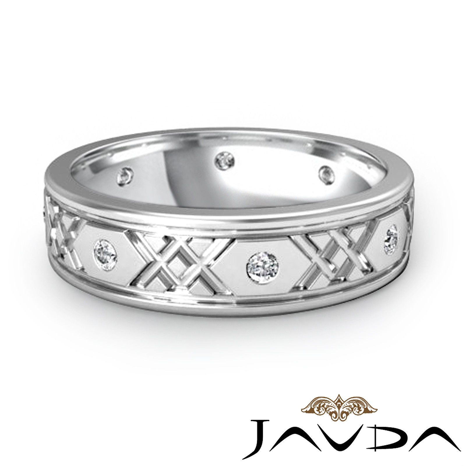 Facinating Round Diamond Mens Comfort Fit Eternity Wedding