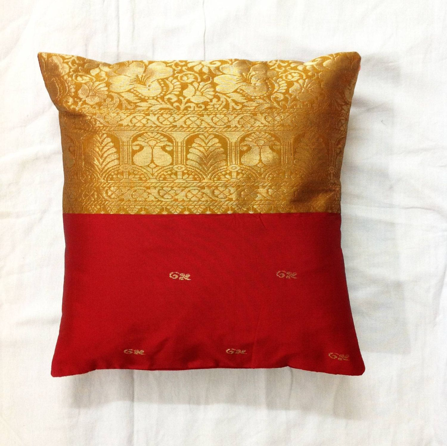 Silk Pillow cover upcycled Indian Saree cushion cover golden