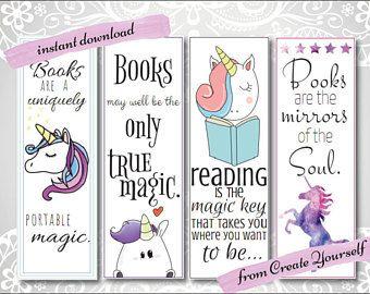 printable unicorn bookmarks # 6