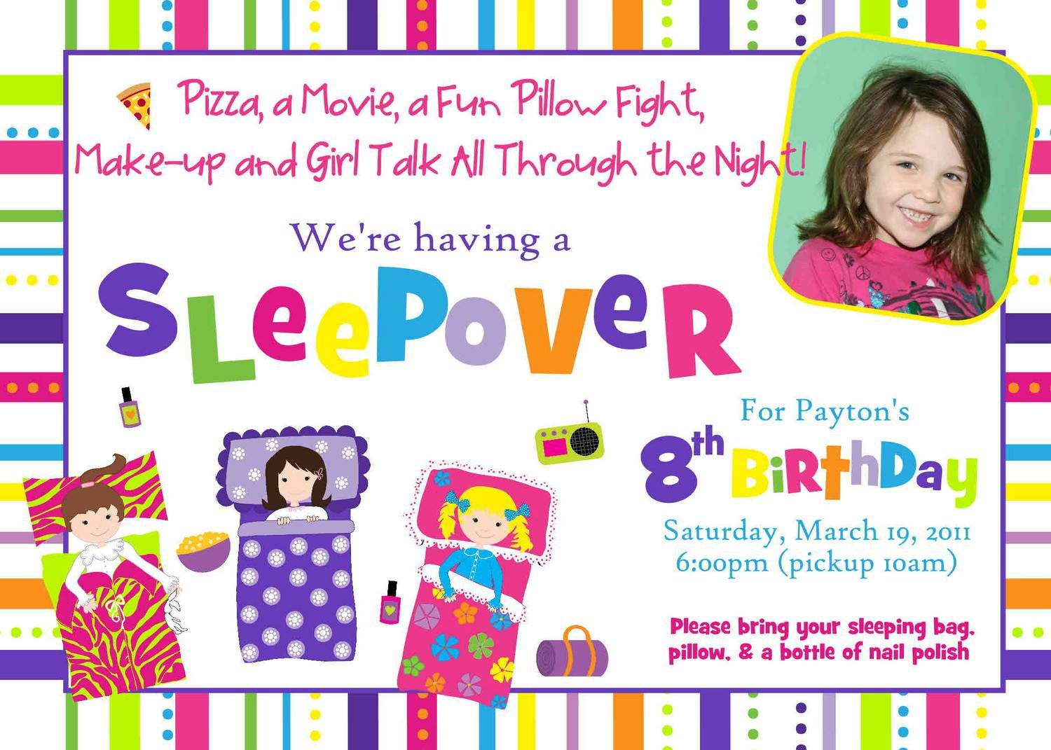 Girls Slumber Party Invitations Free Printable Slumber Party - Invitations for sleepover party templates