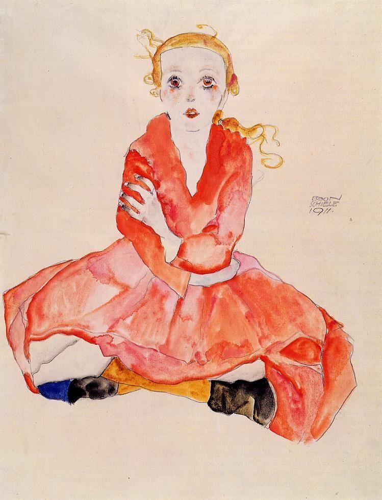 Egon Schiele [Austrian Expressionist Painter, 1890-1918] Seated Girl Facing Front, 1911 Watercolor and pencil on paper Bayerische Staatsgemaldesammlungen, Munich (Germany)