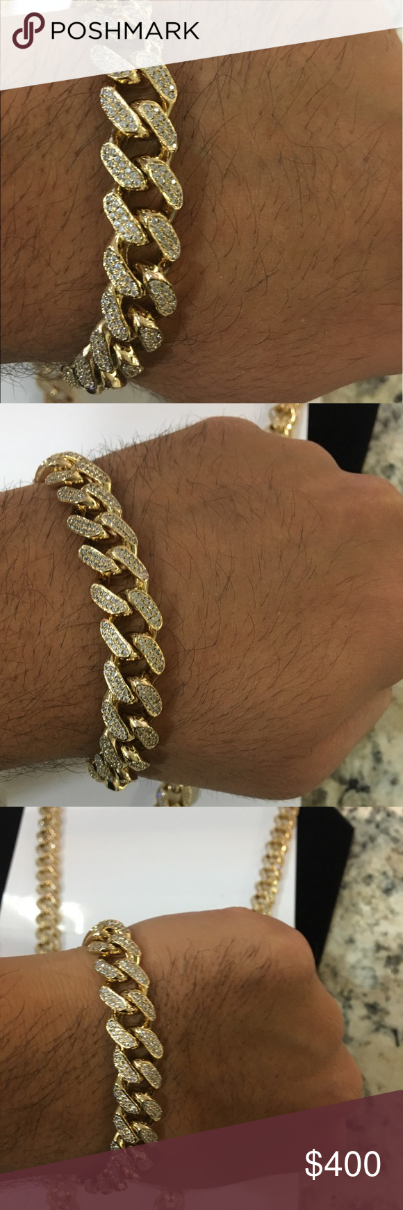 K gold filled iced out cubic zirconia diamonds chain and bracelet