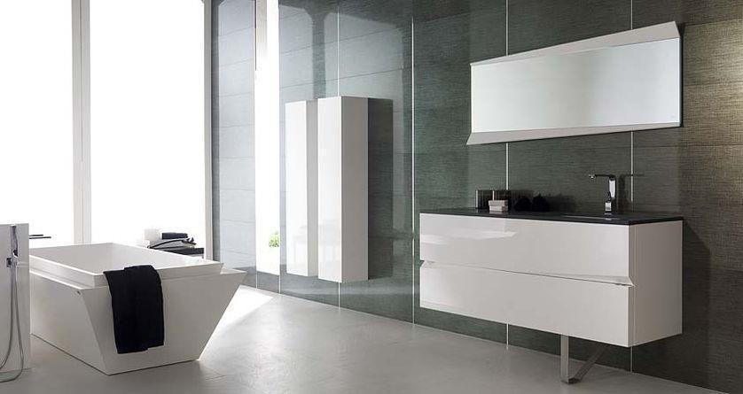 Salle de bain contemporaine donnant sur lu0027extérieur Baignoire ilot - beton cire pour exterieur