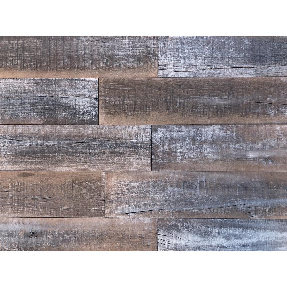 Easy Planking Thermo Treated 1 4 In X 5 In X 4 Ft Brown Black And Gray Barn Wood Wall Planks 10 Sq Ft Per 6 Pack 11339 The Home Depot How To