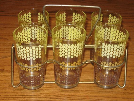 Vintage Mid Century Set 6 Mustard Yellow Polka Dot Glasses Tumblers Gold Carrier