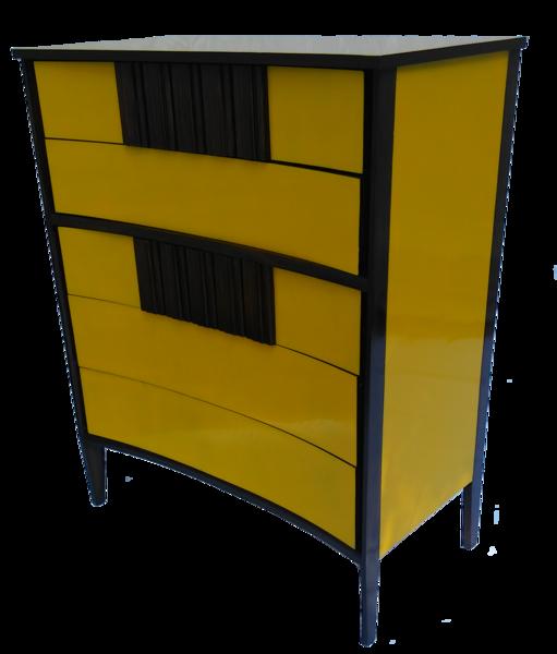 Best Golden Yellow Lacquered Tall Mid Century Modern Dresser 400 x 300