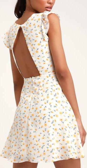 Strike a Posie White Floral Print Backless Skater Dress