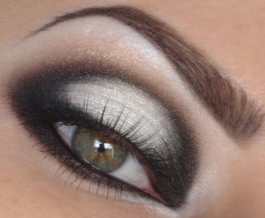 Black And White eye shadow. Dark shadow at both ends of eye. White shadow in the middle.