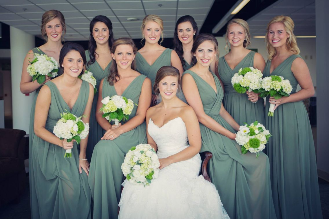 A whole lot of pretty happening here dove grey bridesmaids dresses a whole lot of pretty happening here dove grey bridesmaids dresses white and green ombrellifo Gallery