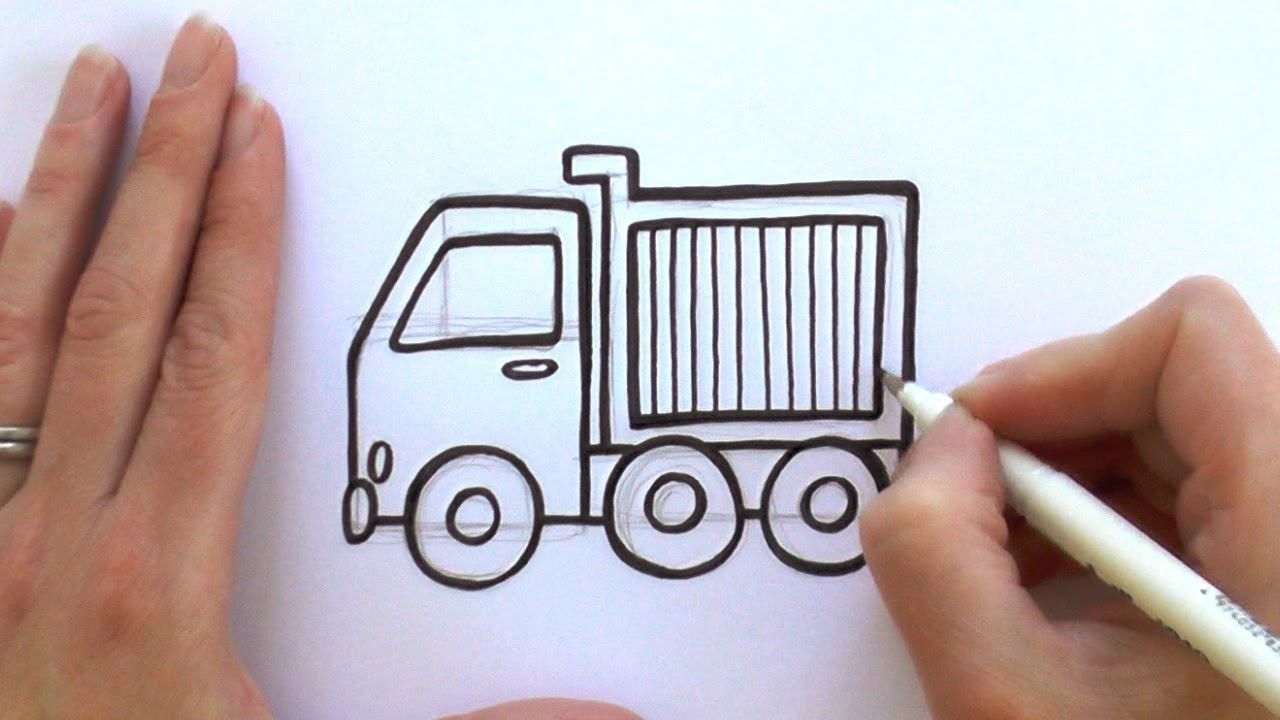 How To Draw A Cartoon Dump Truck With Images Drawing Lessons