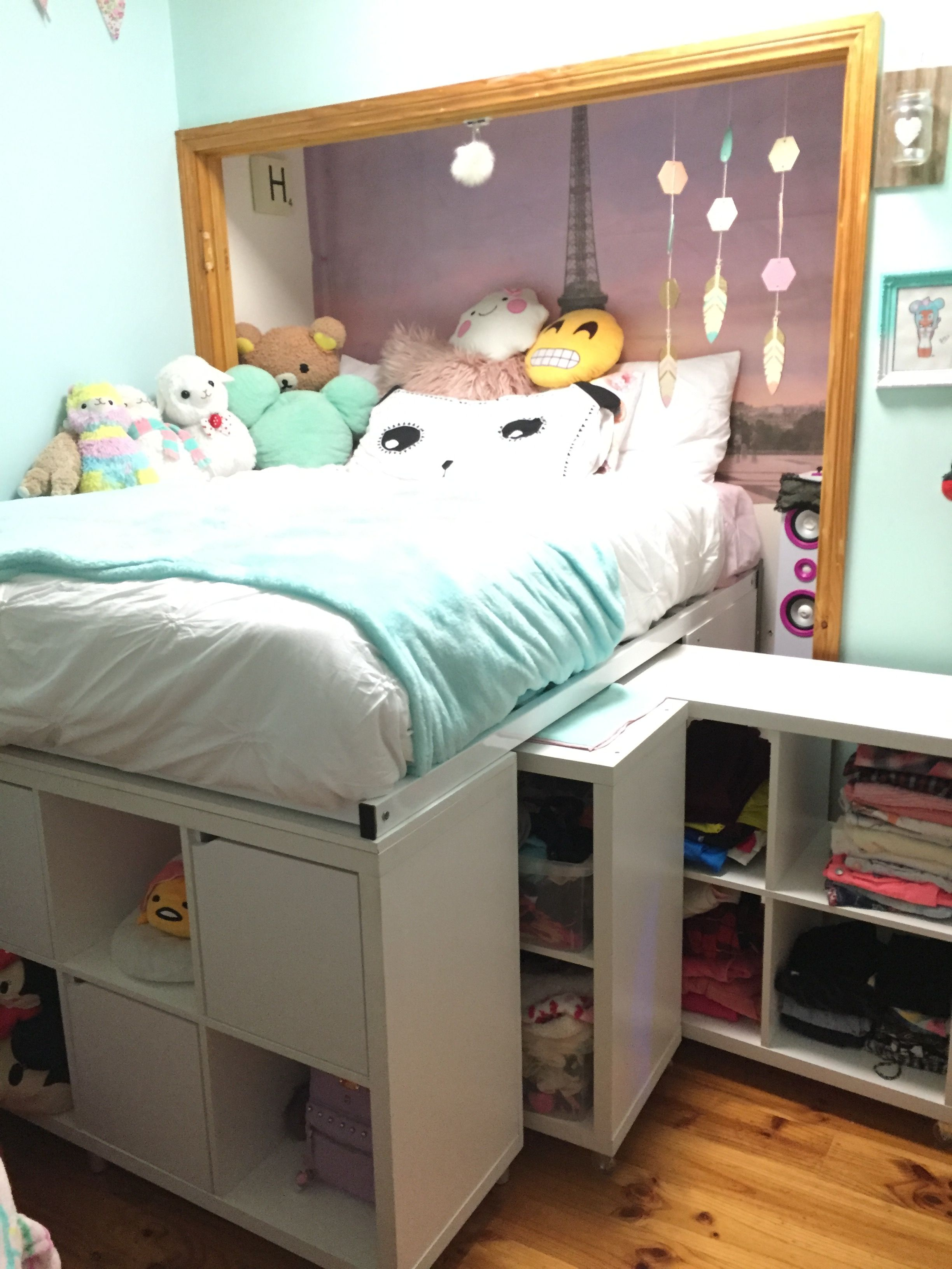 storage bed ikea hack expedit hack under bed storage. Black Bedroom Furniture Sets. Home Design Ideas