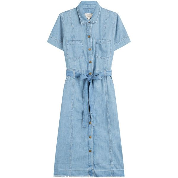 784399739e Current Elliott Belted Denim Shirt Dress (€315) ❤ liked on Polyvore  featuring