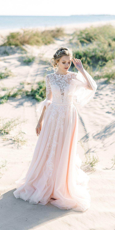 Pink Wedding Dress Boho Wedding Dress Bohemian Dress Long Etsy Crop Top Wedding Dress Top Wedding Dresses Long Sleeve Wedding Dress Lace