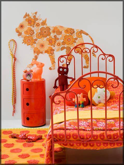 Girl Bedroom Interior with Orange Color Scheme