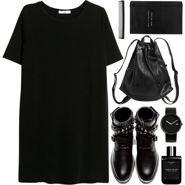 A fashion look from March 2015 featuring MANGO dresses, Yves Saint Laurent ankle booties and Monki backpacks. Browse and shop related looks.