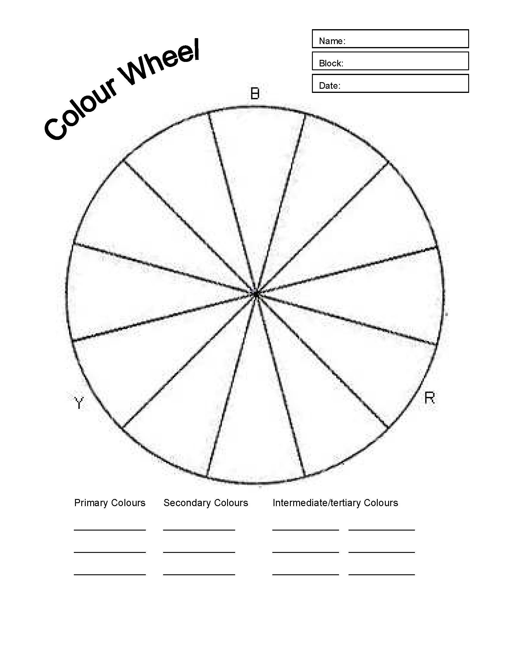 Basic Color Wheel Worksheet