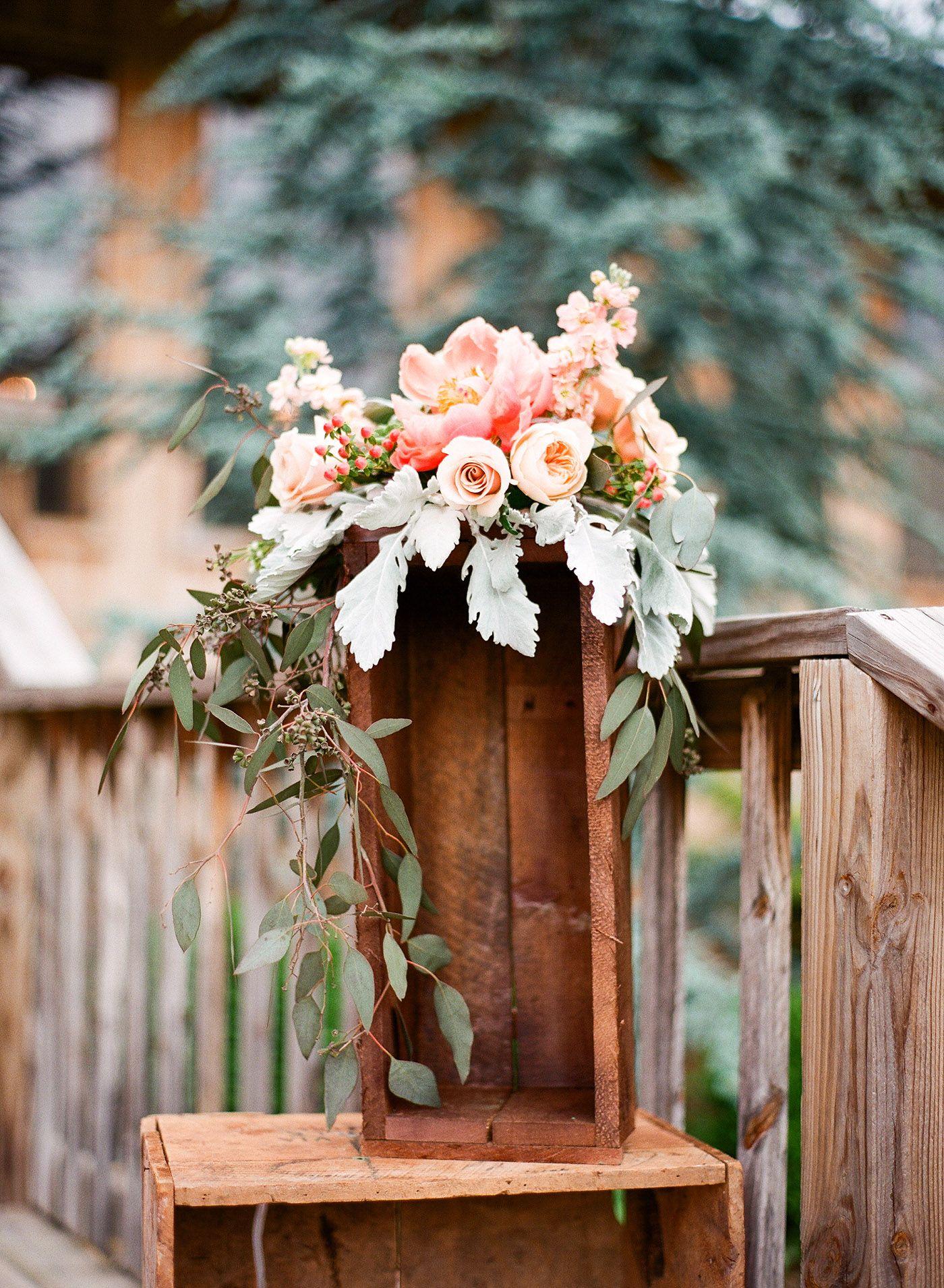 Nashville TN Wedding Wooden Box Floral Arrangement Reception Peonies Green Door