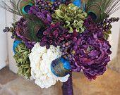 Peacock Bouquet - Purple Peacock Wedding. $100.00, via Etsy.